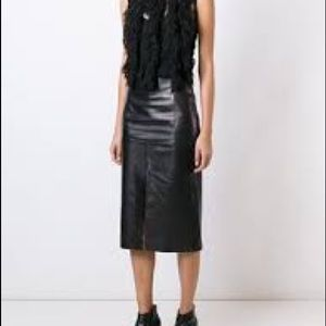Plein Sud Long Slit Leather Skirt Size 6